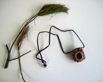 Crochet Lace Covered Stone Pendant Necklace - In Copper - Design 17