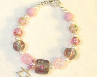 Pink Lampwork Beaded Bracelet