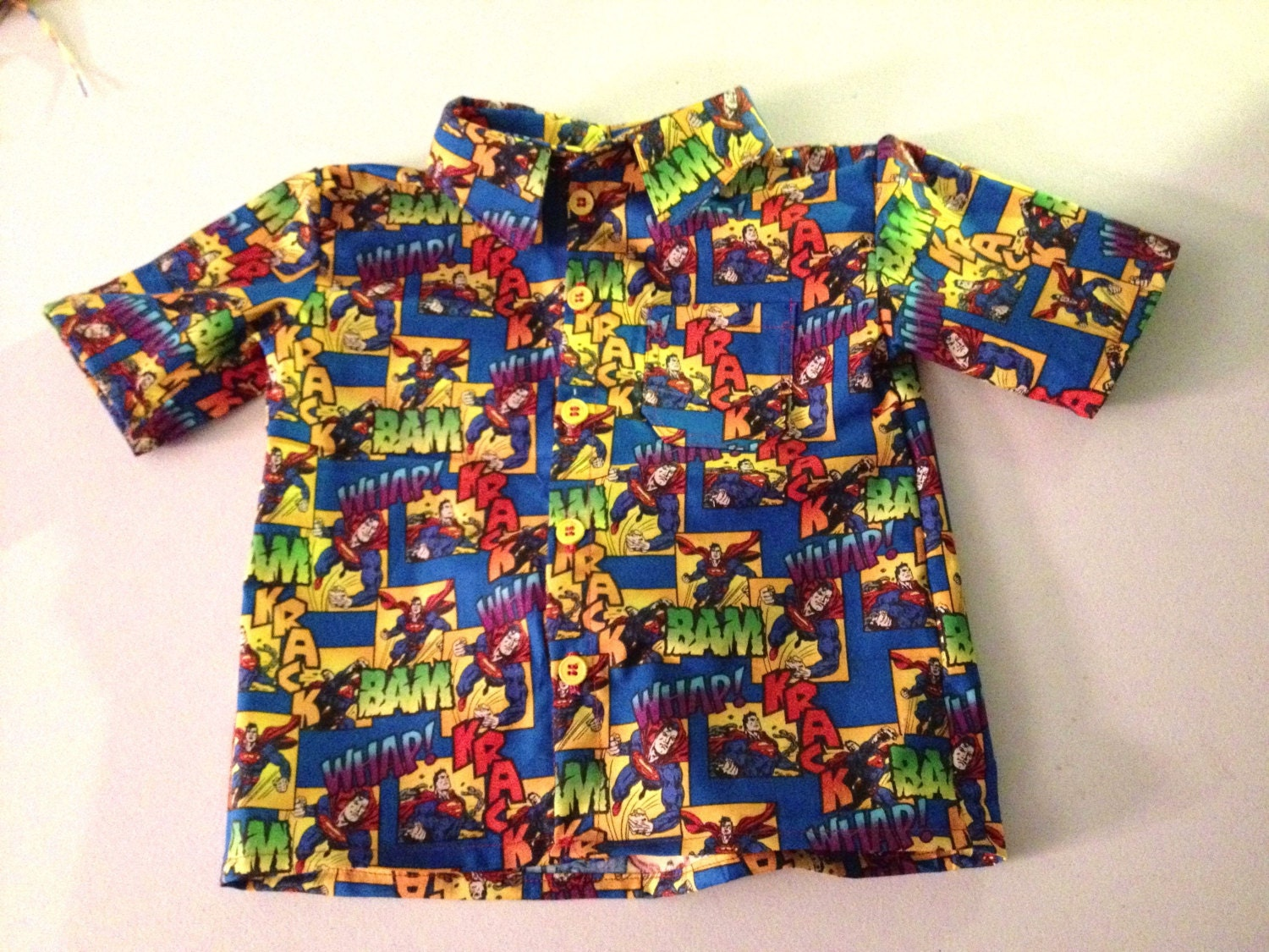 Superman button down shirt by myfunclothes on etsy for Make your own superman shirt