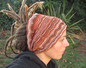 Rich earth tones Egyptian Patterned Dreadlock headband - FREE SHIPPING