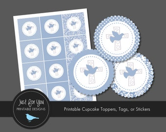 Religious Cupcake Toppers / Tags / Stickers - Blue - YOU PRINT - Baptism / Christening / Baby Dedication / First Communion / Confirmation
