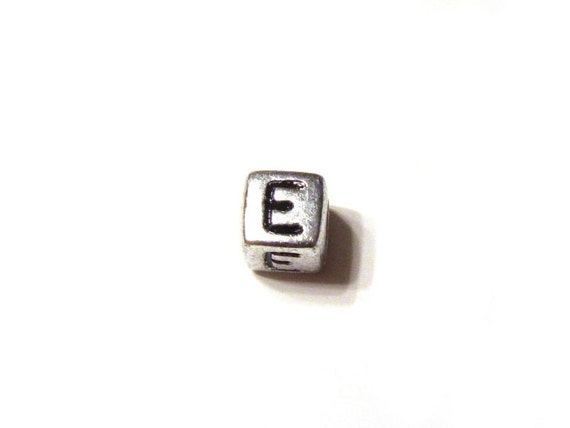 CLEARANCE CLOSEOUT SALE Silver Letter E Alphabet Square Cube Bead 6mm - Set of 500