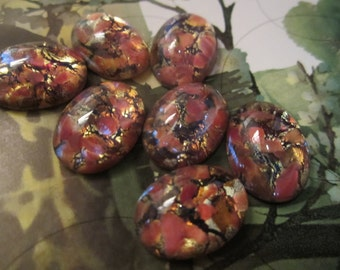 14 x 10mm Red Opal Glass Cabs 4Pcs.