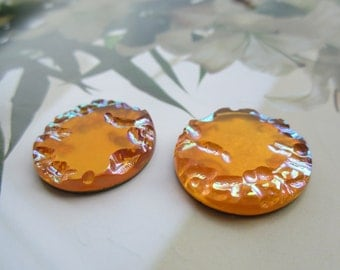 1940's Czech Glass Cabs Amber AB Transluscent 22mm