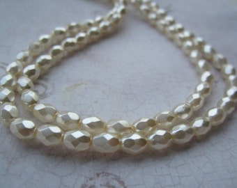 Czech Glass Creme Oval Faceted Pearl Beads 6mmx4mm 25Pcs.