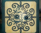 Steel Floral Ornamental Panel with Stained Glass, Plasma Cut Metal, Victorian Look Wall Art