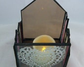 Valentine's Day Gift, Stained Glass Candle Holder with Hearts