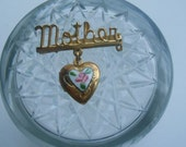 Vintage Mother Brooch Locket Painted enamel Heart