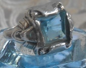 Art Deco Sterling Silver Vintage Aquamarine Ladies size 5