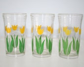 Set of Three Juice Glasses with Yellow Tulips