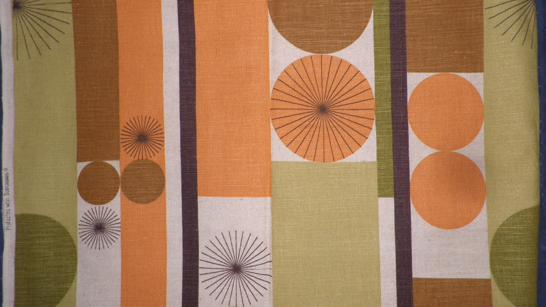 Retro Upholstery Fabric Abstract Print Mid Century Yardage