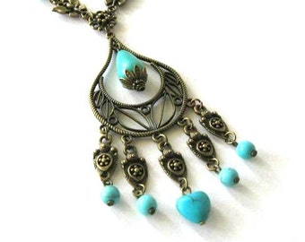 Chandelier turquoise necklace butterfly jewelry antique brass bronze bohemian necklace boho vintage style