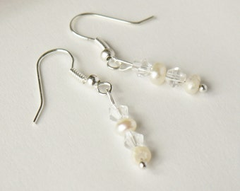 ivory white freshwater tiny nugget pearls and clear Swarovski crystals silver fish hook earrings