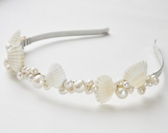 pearl and shell tiara- white sea shell, ivory freshwater pearl clusters beach summer wedding headband