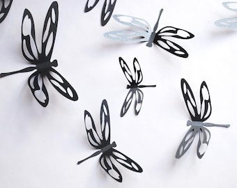 3D dragonfly with cut outs, wall sticker, room decoration, baby nursery in shimmering black, 12 pieces, one dozen