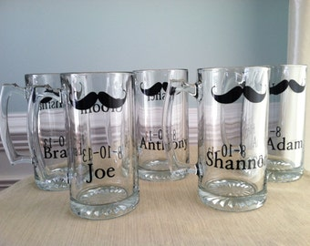 10 Personalized Mustache Beer Mugs