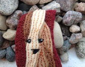 Bacon Action Figure Felt Bookmark V - Great gift  for afficionados of cuteness and bacony goodness