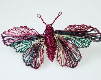 Wire sculpture art butterfly brooch,unusual wire butterflies brooch jewelry,unique art to wear creative sculptural jewelry butterfly brooch.
