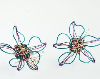 Flower earrings Light blue earrings Flower jewelry Wire earrings Hook earrings Floral earrings Wire jewelry Summer earrings Unique jewelry