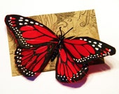Medium Red Monarch Butterfly Hair Clip