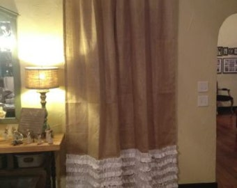 Burlap Curtain- Drape Panel with 6 Muslin Ruffles with 4 inch Rod Pocket Up To 120 inches