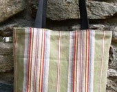 "BIG TOTE BAG  ""SunShine"", Vintage Ticking Fabric in yellow, orange, red, black, brown and khaki, cotton."
