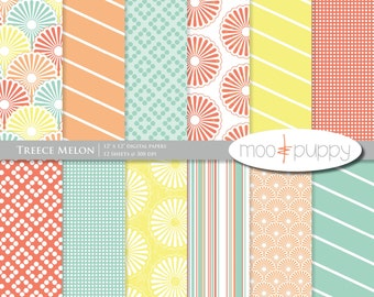 Digital Scrapbooking Paper     Treece Melon - Digital Scrapbook Paper Pack  -- INSTANT DOWNLOAD