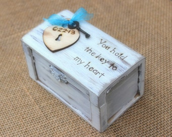 Ring Bearer Box Rustic Wedding Shabby Chic Personalized Wood Heart and Key (Your Color Choice)