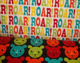 Roar Multi colored Words and Lion heads 1 yard of each By Inkjet Designs By Marie Perkins for Robert Kaufman 2 yards total