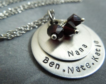 personalized hand stamped stainless steel necklace with birthstones
