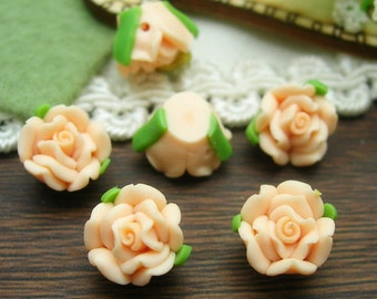 6 Pcs  Beautiful Fimo Rose Flower  10mm, Pale Pink    (WP10-010)