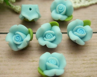 6 pcs Beautiful Fimo Rose Flower 11 mm, Lake Blue     (WP11-02)