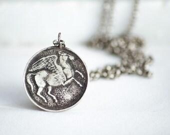 Sterling Silver Pegasus Necklace-Pegasus Pendant-Horse Jewellery-Ancient Greek Coin Pendant