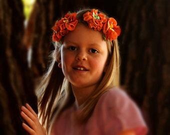 Floral crown orange flower head band fairy halo headband garland