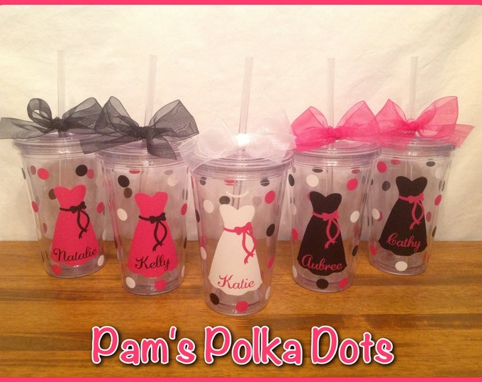 5 Personalized 16 oz. Clear BRIDE & BRIDESMAIDS TUMBLERS with Dress Name Polka Dots Bridal Bachelorette Wedding Party