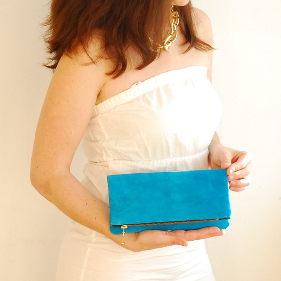 Small Turquoise Suede Bag.  Foldover Zipper Clutch.
