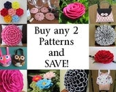 Flower Pillow Patterns, Hairclip Patterns, Brooch Patterns, Little Girls Purse Patterns, Coasters - choose ANY 2 Patterns and SAVE!