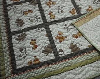 Baby quilt zoo animals green, brown, cream plaid rickrack polkadots