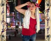 """2 x DREADLOCKS fair blonde clubbing DREAD hair FALLS 160 dreads 60 cm/24"""" long extensions R'n'B Reggae Hip Hop urban hairdo wig Burning Man"""