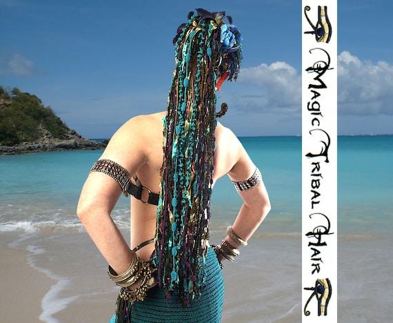 "HAIR FALLS ""New Paradise"" Tribal Fusion fantasy mermaid yarn falls in PEACOCK colours Reenactment Burning Man cyber goa rave Wig extensions"
