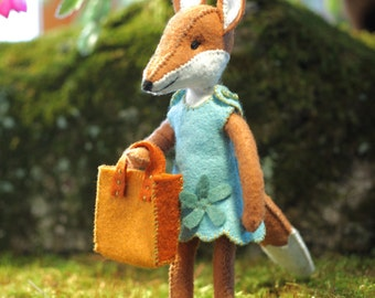 Charlotte Fox PDF pattern, girl fox pattern, foxy, beginner sewing, Felt Animal sewing pattern, fox pluch toy