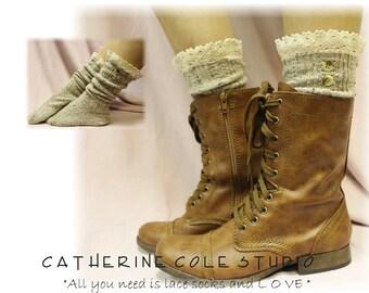 Socks lace boot socks boot socks combat boot socks  womens boot socks cowboy boot socks NORDIC LACE Oatmeal Catherine Cole Studio SLX1B