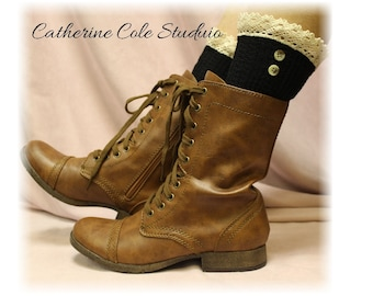 Boot socks, Black, knit, slouch, short, cuffs, combat boots, cowboy,  NORDIC LACE Black Catherine Cole Studio SLX1B
