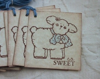 Set of 12 So Sweet Baby Lamb Tags With Blue Scarf - Baby Boy Shower Gift - Favor Tags