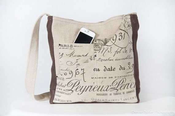 French script heavy weight Linen/ messenger bag shoulder bag - Made in U.S.A - One ready to ship