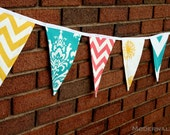 Fabric Bunting Banner- Yellow, Turquoise, and Coral Pennant Flags- Party Decoration- Photo Prop- Nursery Decor- Wedding Shower, Garland