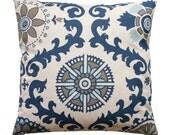 Blue Damask Pillow, Rosa Indigo Pillow Cover, Navy Toss Pillows, Zippered Pillow, Blue Cushion Cover, Linen Pillow, Throw Pillow, Bed Pillow