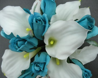 21 Piece White Turquoise Wedding Calla Bouquet Set. REAL TOUCH Lilies with crystals.(1) Bride Bouquet (3) Bridesmaid (6) Corsage (10) Bouts