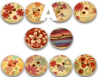 100Pcs Mixed 2 Holes Wood Painting Sewing Buttons 15mm