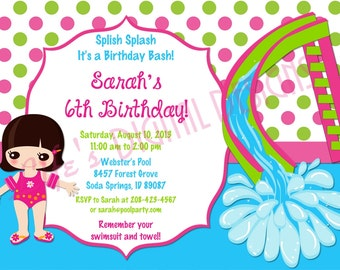 Water Slide Invitations Pool Party Birthday Green Pink Dots Customizable Printable Hair Color Options